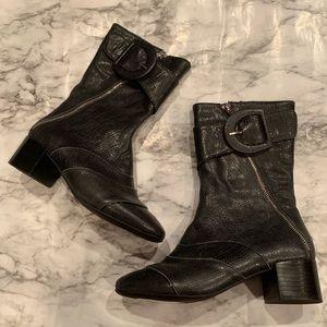 Jeffery Campbell Black Zipper Belted Detail Boots